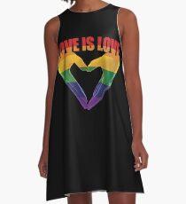 Love Is Love Rainbow T Shirt Gay Lesbian Pride T Shirt LGBT Gift A-Line Dress