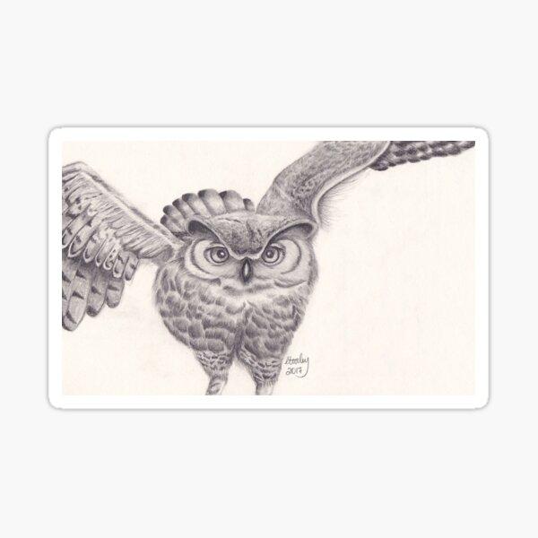 Owl in Flight Sticker