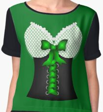 St patricks day vintage Irish traditional leprechaun corset  Women's Chiffon Top