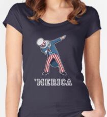 Merica - Dabbing Uncle Sam - Funny 4th of July Party shirt Women's Fitted Scoop T-Shirt