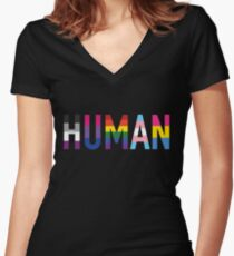 HUMAN Pride Women's Fitted V-Neck T-Shirt