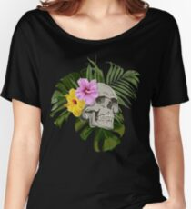 Skull With Exotic Flowers Pattern Women's Relaxed Fit T-Shirt