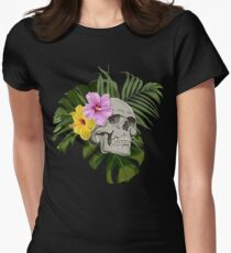 Skull With Exotic Flowers Pattern T-Shirt