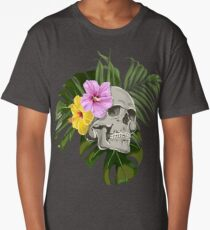 Skull With Exotic Flowers Pattern Long T-Shirt