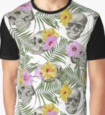 Skull With Exotic Flowers Pattern Graphic T-Shirt
