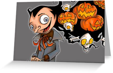 Creepy Halloween Pumpkin Head  by Steven Novak