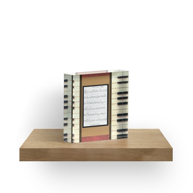 Piano keys with sheet music by Kristie Hubler by kristiehubler