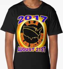 2017 USA Total Solar Eclipse Star Gaze August 21st (red letters) Long T-Shirt