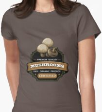 Mushrooms organic certified sticker Womens Fitted T-Shirt
