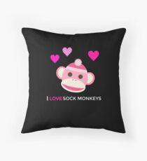 Pink Sock Monkey - I Love Sock Monkeys Throw Pillow