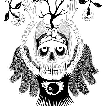 Skeleton black angel with flowers by PIBI