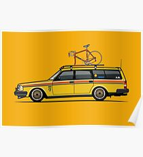 Yellow Volvo 245 Wagon With Roof Rack and Vintage Bicycle Poster