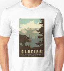 Glacier National Park Vintage Travel Decal Unisex T-Shirt