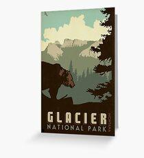 Glacier National Park Vintage Travel Decal Greeting Card