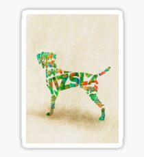 Vizsla Typographic Watercolor Painting Sticker