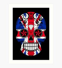 Sugar Skull with Roses and Union Jack Art Print