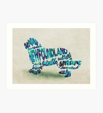 Newfoundland Dog Breed Typographic Watercolor Painting Art Print