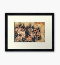 Pferde künstlerische Aquarellmalerei dekorativ Gerahmtes Wandbild