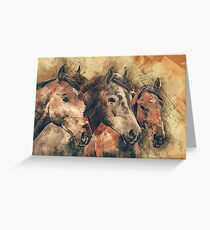 Horses Artistic Watercolor Painting Decorative Greeting Card