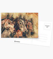 Pferde künstlerische Aquarellmalerei dekorativ Postkarten