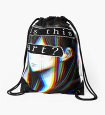 IS THIS ART? SAD JAPANESE AESTHETIC (White border) Drawstring Bag