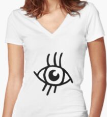 Cute eye Yellow Women's Fitted V-Neck T-Shirt