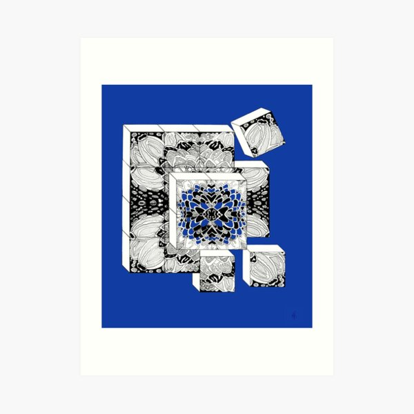 The cubes in royal blue - dices in royal blue Art Print