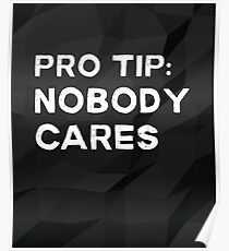 Pro Tip Nobody Cares Sarcastic Humor Poster