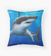 Blue Predator - Great White Shark Throw Pillow