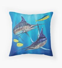 Double Trouble - Striped Marlin Throw Pillow