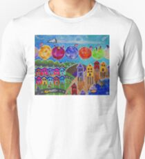 A Colorful World Village Beach Space Shuttle Planets Stars Boats Cows Homes Ocean Farms Flags  Unisex T-Shirt