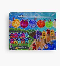 A Colorful World Village Beach Space Shuttle Planets Stars Boats Cows Homes Ocean Farms Flags  Canvas Print