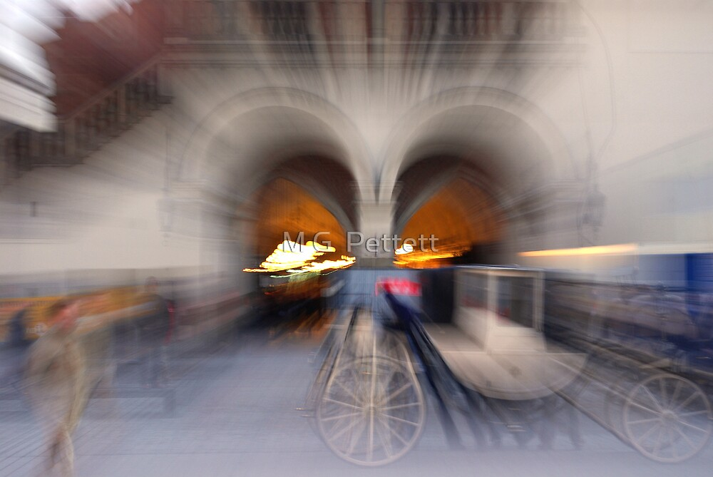 Impressions of Cracow - Cloth Hall arcade and carriage by M G  Pettett