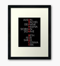 Orphan Black Typography - Dark Framed Print