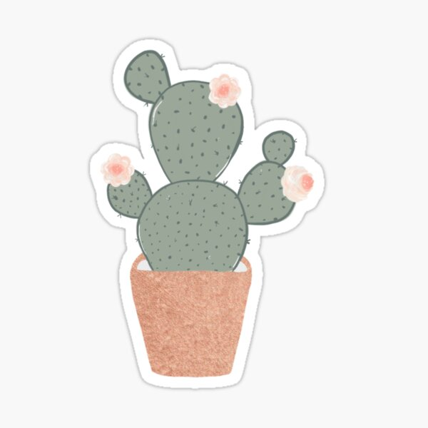 Rose Gold Cactus Sticker