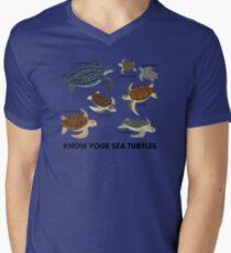 Kenne deine Meeresschildkröten T-Shirt mit V-Ausschnitt