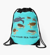Know Your Sea Turtles Drawstring Bag