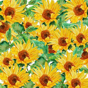 patrón de acuarela de girasol amarillo brillante de ColorandColor