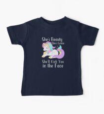 She's Beauty She's Grace She'll Kick You in the Face Cute Unicorn Kids Clothes