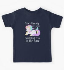 She's Beauty She's Grace She'll Kick You in the Face Cute Unicorn Kids Clothes