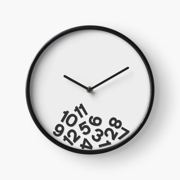 Fallen Numbers Clock Black Clock