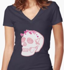Love After Death - Heart Skull Crown Women's Fitted V-Neck T-Shirt