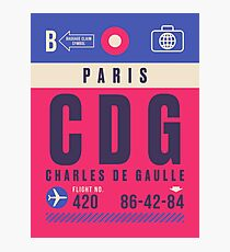 Retro Airline Luggage Tag - CDG Paris Charles De Gaulle Airport France Photographic Print