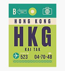 Retro Airline Luggage Tag - HKG Kai Tak Airport Hong Kong Photographic Print