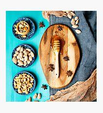 Honey dessert, nuts and honey  Photographic Print