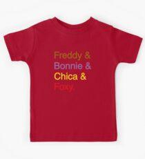 freddy & bonnie & chica & foxy Kids Tee
