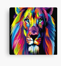 Neon Lion Canvas Print