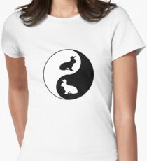 Yin Yang Rabbits Womens Fitted T-Shirt