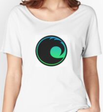 Blue Green and Black Curl Women's Relaxed Fit T-Shirt