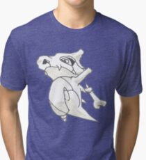 Cubone Black and White Tri-blend T-Shirt